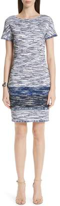 St. John Vertical Fringe Multicolored Tweed Knit Dress