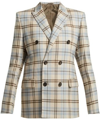 BEIGE Connolly - Double Breasted Checked Wool Blend Blazer - Womens Multi