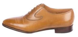 John Lobb Leather Round-Toe Oxfords