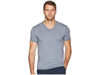 John Varvatos Short Sleeve Soft Heather V-Neck with Pickstitch K3775U2B Men's Clothing