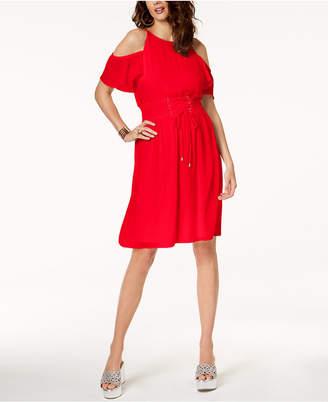 Thalia Sodi Cold-Shoulder Corset Gauze Dress, Created for Macy's