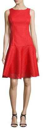 Black Halo Sleeveless Banded Mesh Cocktail Dress, Escape Red $345 thestylecure.com