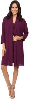 Adrianna Papell Draped Jacket w/ V-Neck Lace Dress Women's Dress