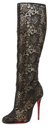 Christian Louboutin Tennissima Net Lace Red Sole Boot, Black $1,295 thestylecure.com