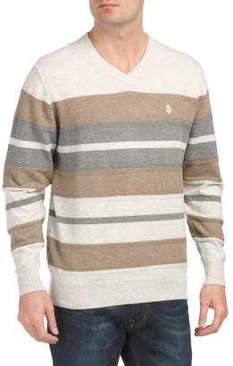 Textured Stripe V-neck Sweater
