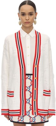 Gucci WOVEN WOOL BLEND KNIT CARDIGAN