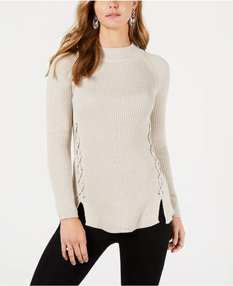 Style&Co. Style & Co Lace-Up Mock-Turtleneck Sweater
