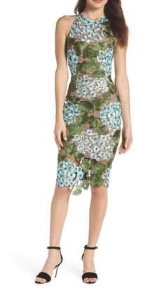 Bronx AND BANCO Blue Cherry Hydrangea Lace Sheath Dress