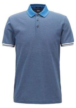 BOSS Hugo Slim-fit polo shirt mountaineering-inspired pattern M Open Blue