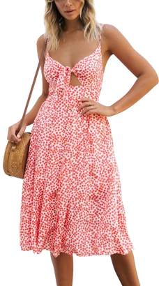 Dolce & Gabbana Walant Womens Summer Spaghetti Strap Dress Tie Front V-Neck Swing Midi Dress (M, Y)