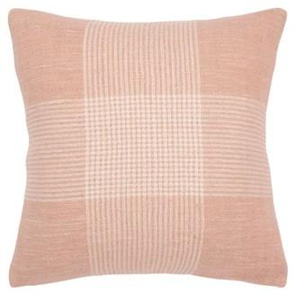 "Rizzy Home Decorative Throw Pillow Cover Plaid 20""X20"" Blush"