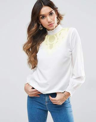 Asos DESIGN Blouse with Contrast Embroidery