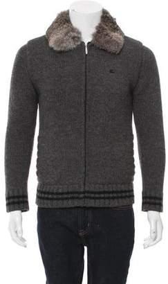 Burberry Chinchilla Fur-Trimmed Cardigan