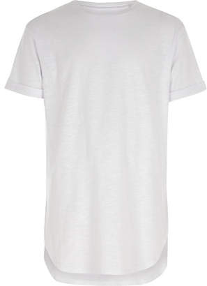 River Island Boys white short sleeve curve hem T-shirt