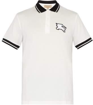 Burberry Logo Patch Cotton Pique Polo T Shirt - Mens - White