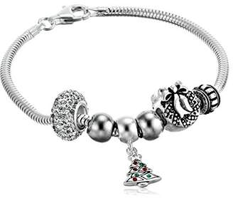 Sterling Holiday Bead Set Snake Charm Bracelet