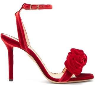 Charlotte Olympia Rose Appliqued Velvet Sandals - Womens - Red