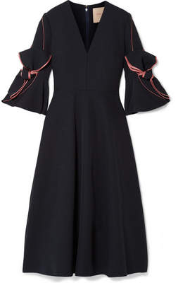 Roksanda Sibella Bow-detailed Satin-trimmed Crepe Midi Dress - Midnight blue