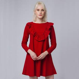COMPANIA FANTASTICA Short Ruffled Dress with Long Sleeves