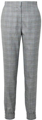 Tibi Cooper Prince Of Wales Checked Wool And Silk-blend Track Pants - Gray