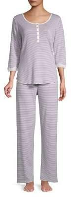 Miss Elaine Two-Piece Striped Pajama Set