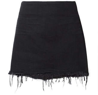 Alexander Wang Frayed Denim Mini Skirt - Black