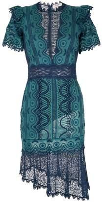 Sea embroidered woven midi dress