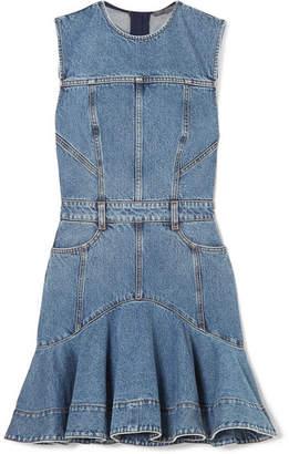 Alexander McQueen Striped Grosgrain-trimmed Denim Mini Dress - Indigo