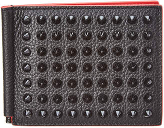 Christian Louboutin Clipsos Spiked Leather Money Clip Wallet