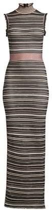 Herve Leger Striped Lurex Knit Turtleneck Gown