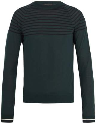 Prada Crew-neck striped wool and cashmere-blend sweater
