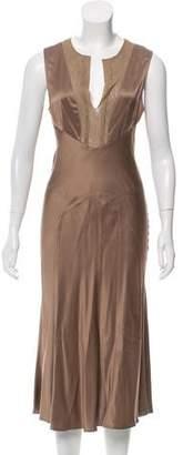 Filippa K Mesh-Trimmed Satin Dress