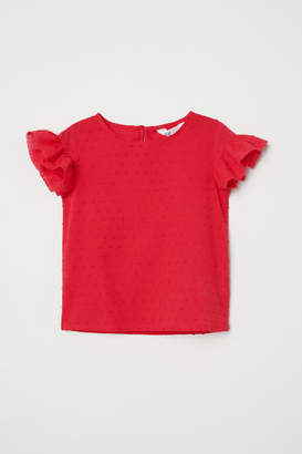 H&M Ruffle-trimmed Blouse - Red