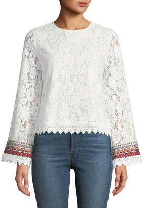 Allison New York Geometric Embroidered-Cuff Lace Blouse