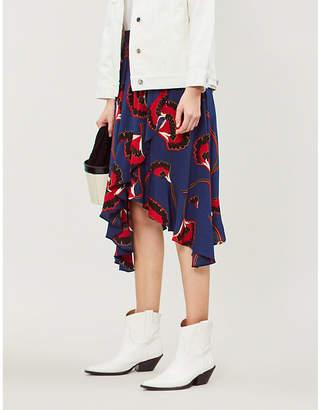BA&SH Lena floral-print crepe midi skirt