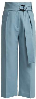 Petar Petrov Hayes Belted Wool Blend Trousers - Womens - Blue