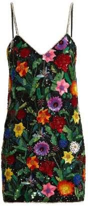 Ashish Magic Flower Embellished Silk Georgette Mini Dress - Womens - Black Multi