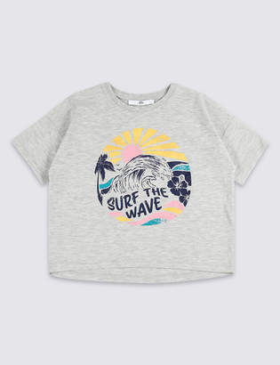 Marks and Spencer Cotton Rich Surf the Wave T-Shirt (3-16 Years)