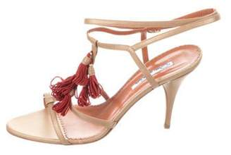 Oscar de la Renta Leather Tassel-Embellished Sandals Gold Leather Tassel-Embellished Sandals