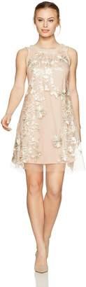 Sandra Darren Women's 1 Pc Petite Sleeveless Embroidered Mesh Trapeze Dress
