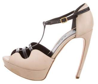 Alexander McQueen Leather T-Strap Sandals Beige Leather T-Strap Sandals