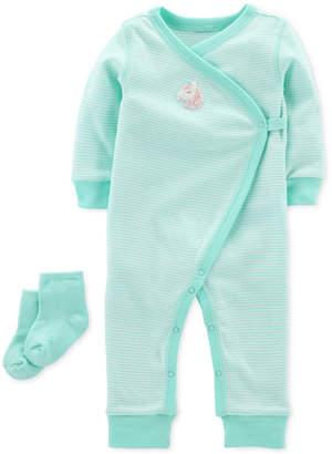 Carter's Baby Girls Cotton Kimono Jumpsuit & Socks Set
