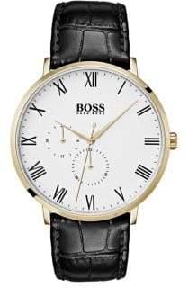 HUGO BOSS William Leather-Strap Watch