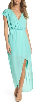 Women's Charles Henry Faux Wrap Woven Maxi Dress $88 thestylecure.com