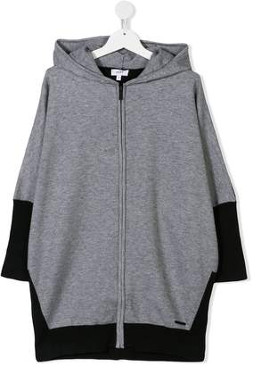 DKNY two-tone mid-length hoodie