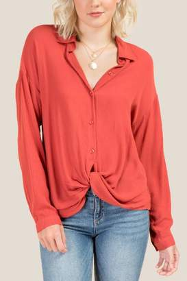 francesca's Cadence Twist Front Button Down Top - Cinnamon