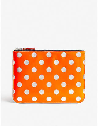 Comme des Garcons Fluo leather polka dot pouch