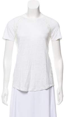 Rebecca Taylor Lace-Trimmed Short Sleeve Top w/ Tags