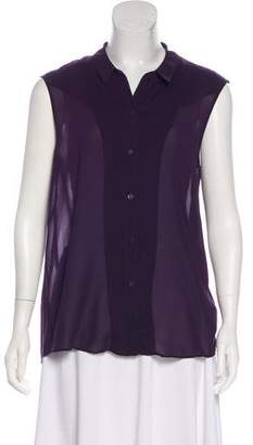 Theyskens' Theory Sheer Button-Up Top