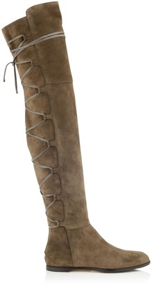 Jimmy Choo MAYFAIR FLAT Mink Suede and Leather Over The Knee Boots